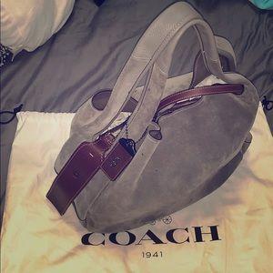Coach Gray/Mohogany Suede Hobo Bag